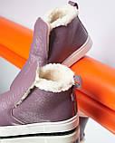Женские зимние ботинки хайтопы Ankle slip сирень лак, фото 3