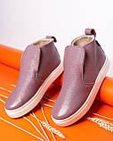 Женские зимние ботинки хайтопы Ankle slip сирень лак, фото 8