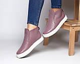 Женские зимние ботинки хайтопы Ankle slip сирень лак, фото 9