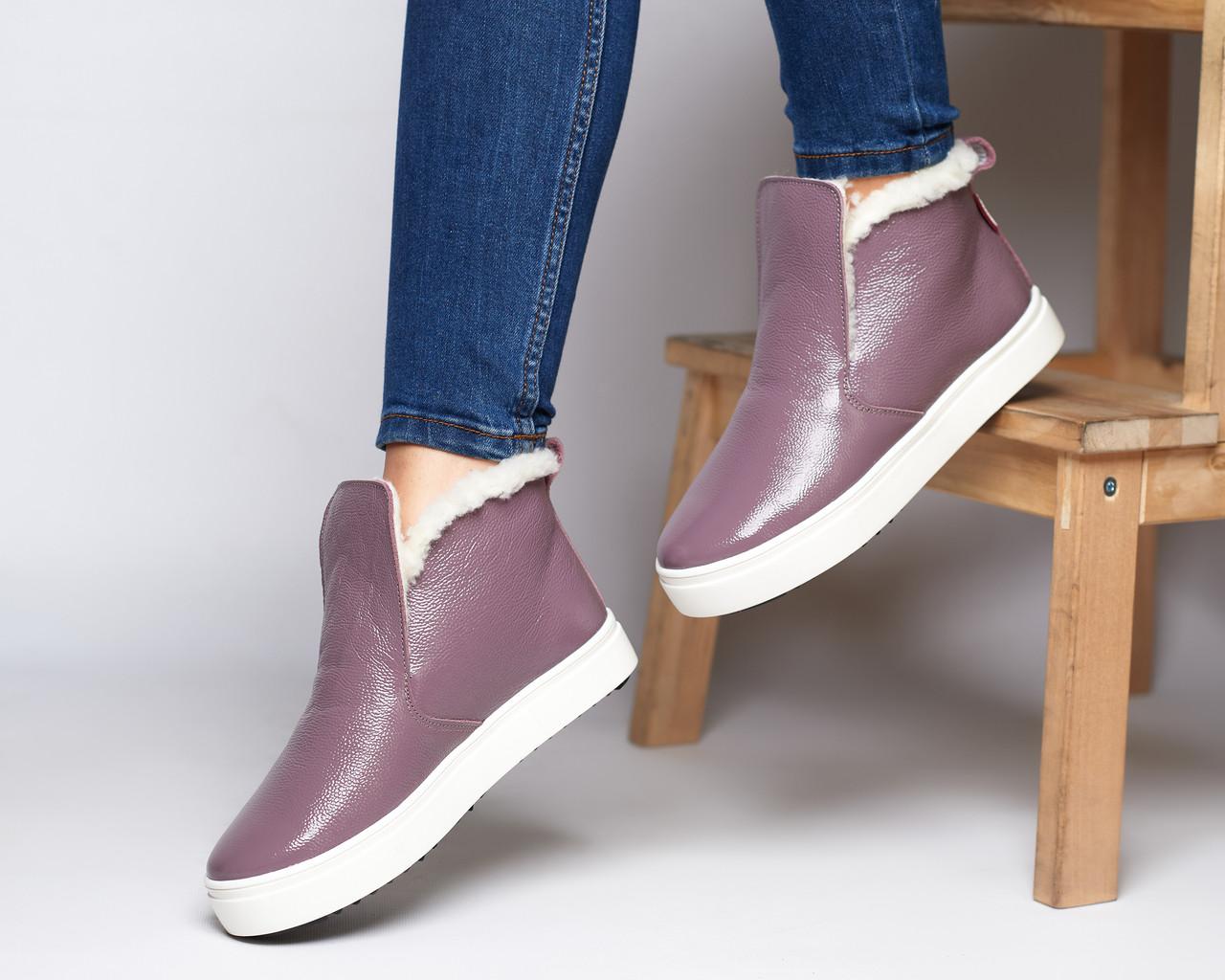 Женские зимние ботинки хайтопы Ankle slip сирень лак