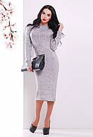 Теплое женское вязаное платье с фактурой косичек и пышными рукавами