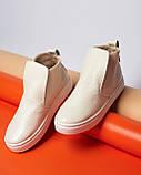 Женские зимние ботинки хайтопы Ankle slip молочный лак, фото 5