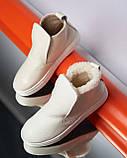 Женские зимние ботинки хайтопы Ankle slip молочный лак, фото 4