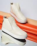Женские зимние ботинки хайтопы Ankle slip молочный лак, фото 7
