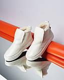Женские зимние ботинки хайтопы Ankle slip молочный лак, фото 2