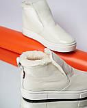 Женские зимние ботинки хайтопы Ankle slip молочный лак, фото 6