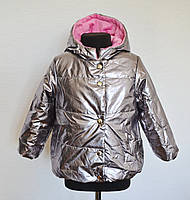 Теплая детская куртка для девочек 1-5лет, демисезонная весна осень, металик
