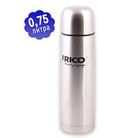 Термос вакуумный нержавейка 0,75 л FRICO FRU-213 c чехлом, фото 1