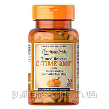 Аскорбиновая кислота, Puritan's Pride Vitamin C-1000 mg with Rose Hips Timed Release 60 caplets