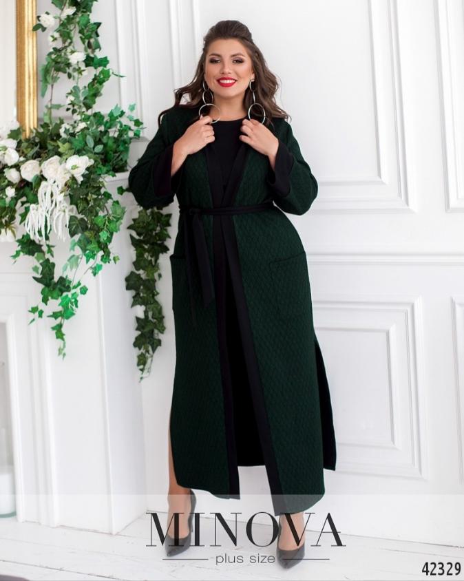 Костюм: платье и кардиган цвет изумрудный Украина Размеры: 46-48, 54-56, 62-64