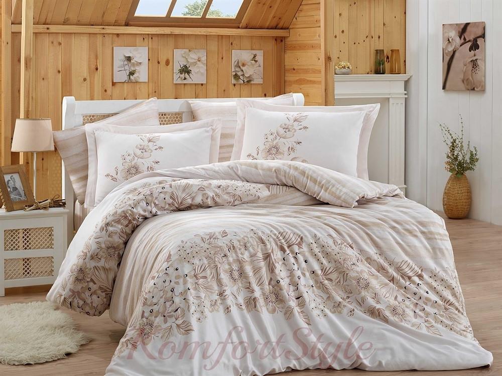 Комплект постельного белья HOBBY Exclusive Sateen Serena бежевый 200*220/4*50*70