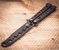 Тренировочный Нож-Бабочка (Балисонг) Ниндзя Черный, фото 1