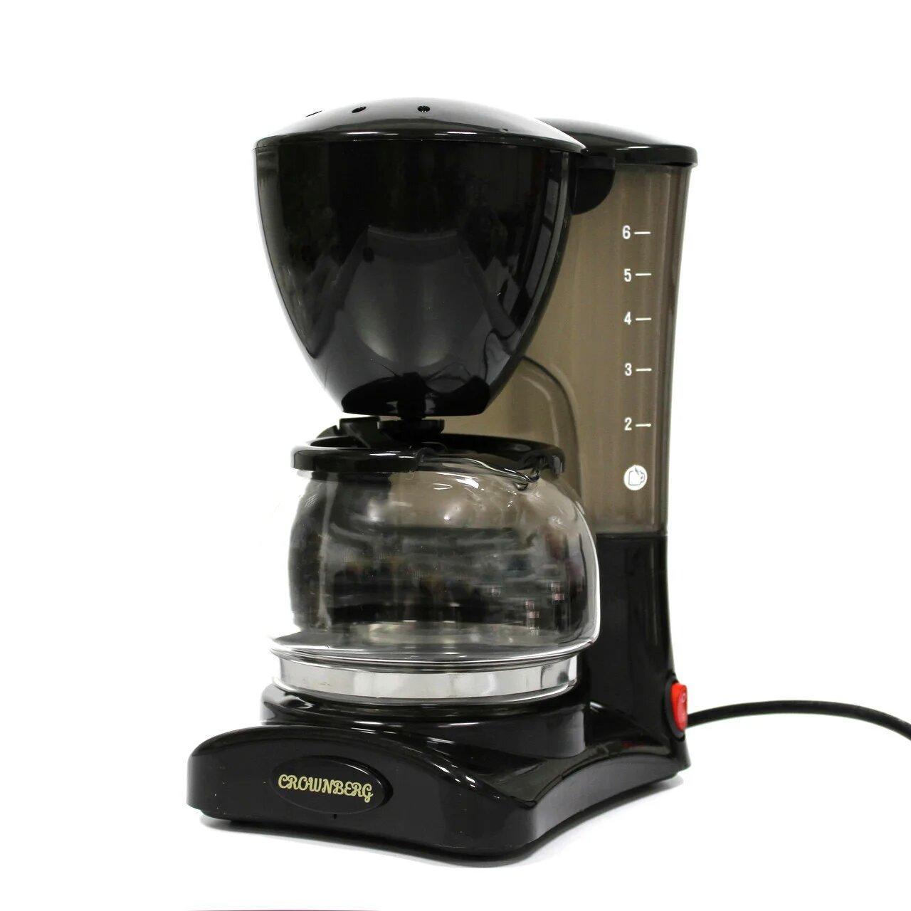 Кофеварка Crownberg Cb-1563 Чёрная 800 Вт Капельная Кофеварка Со Стеклянной Колбой