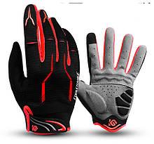 Перчатки велосипедные Coolchange 9104 черные красные вставки