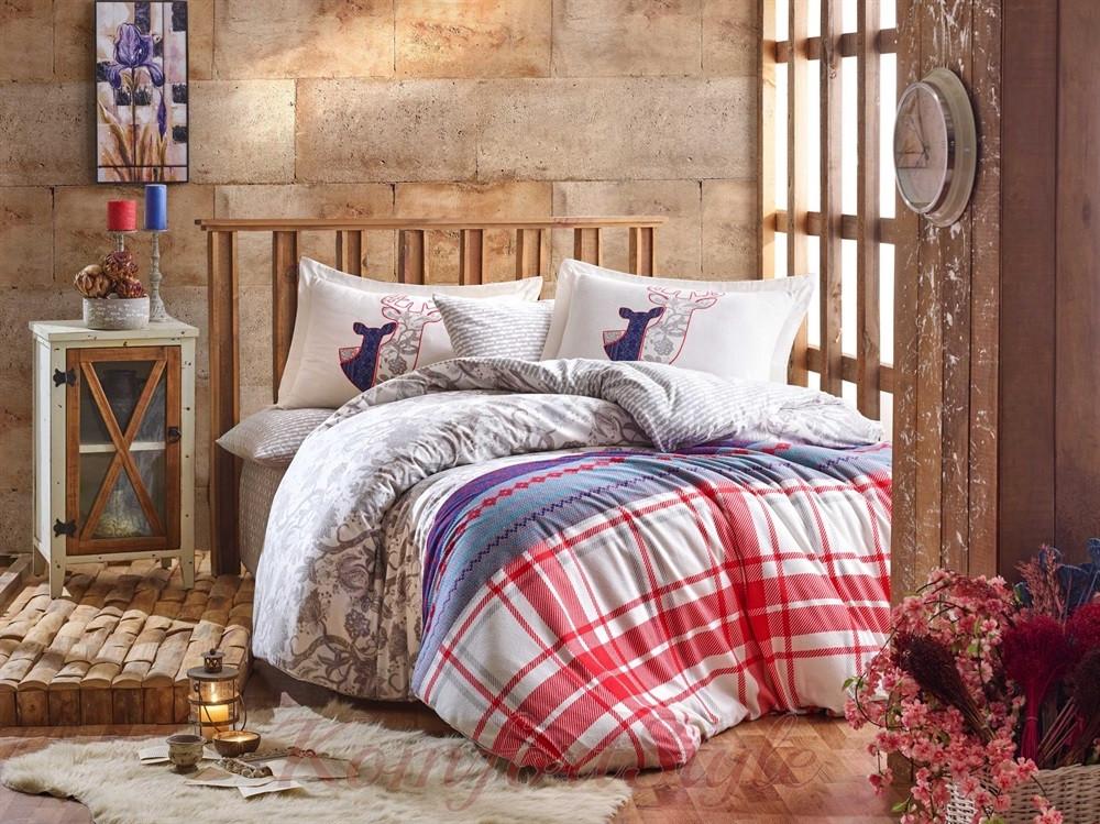 Комплект постельного белья HOBBY FLANNEL Valentina серый 200*220/2*50*70