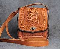 Женская яркая кожаная сумка ручной работы (метод горячего тиснения)