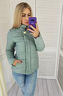 Куртка женская на змейке и кнопках, модель 211/2, цвет мятный / мятного цвет