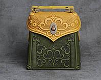 Кожаный оливково-жёлтый рюкзак ручной работы, сумочка-рюкзак с авторским тиснением, фото 1