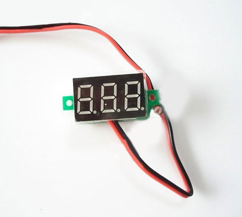 Вольтметр V20D Цифровий Постійного Струму 4,5-30V Червоний (Два Проводи) Bt7