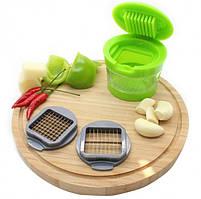Измельчитель пресс для чеснока Чеснокодавка Garlic Chopper 2 насадки чесночница с контейнером для сбора Гарлик, фото 8