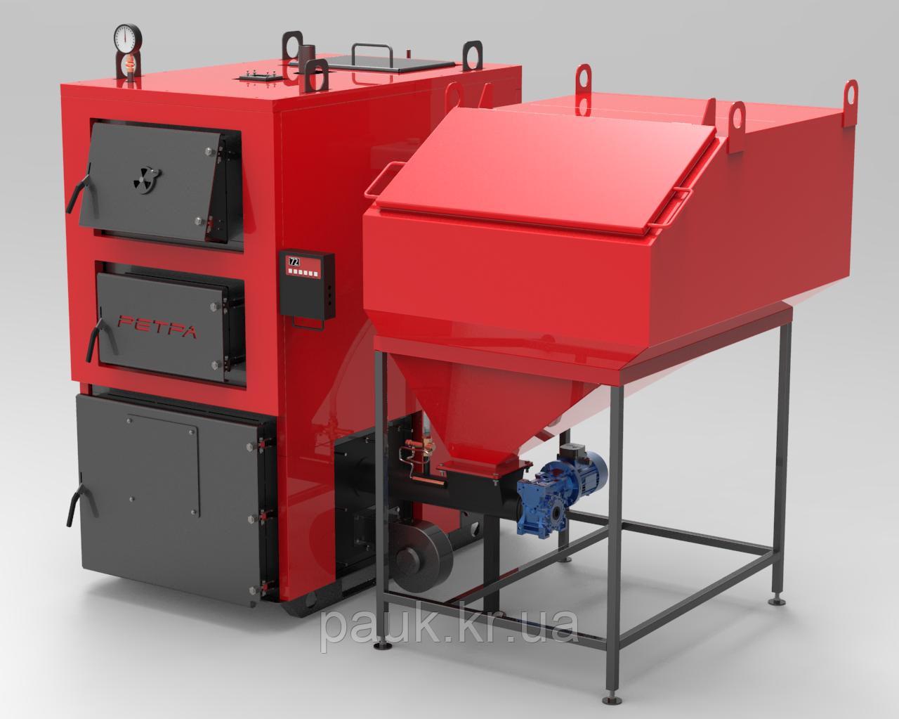Котел на твердом топливе 80 кВт РЕТРА-4МCombi, ретортная горелка
