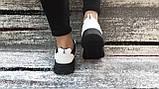 Стильные женские кроссовки в бело-красно- черном цвете из экокожи, со вставками экозамши., фото 2