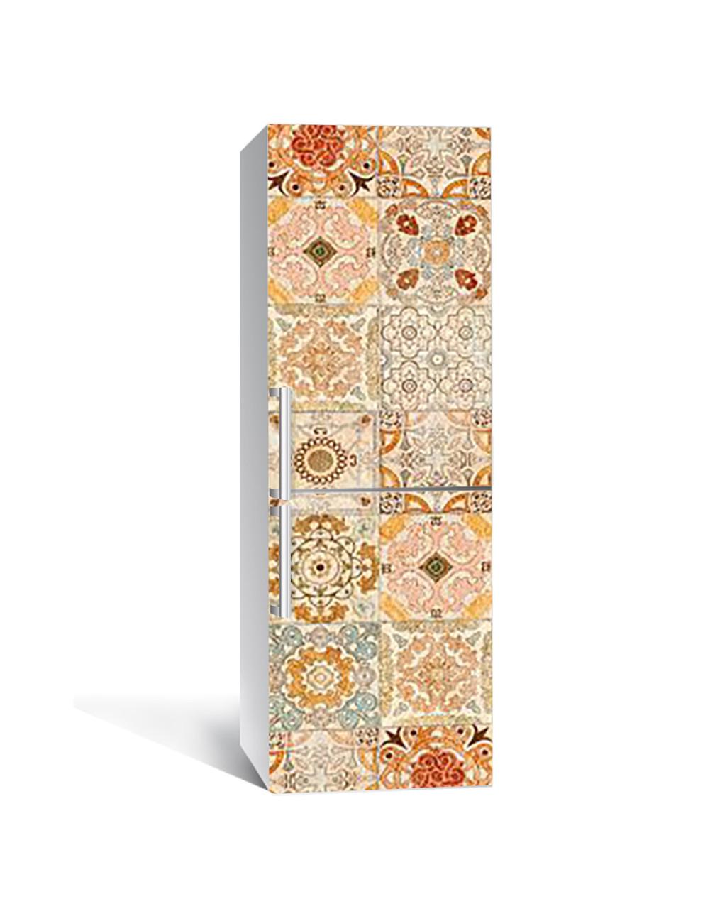 Виниловая 3Д наклейка на холодильник Теплый Орнамент (самоклеющаяся пленка ПВХ) узоры Абстракция Бежевый 650*2000 мм