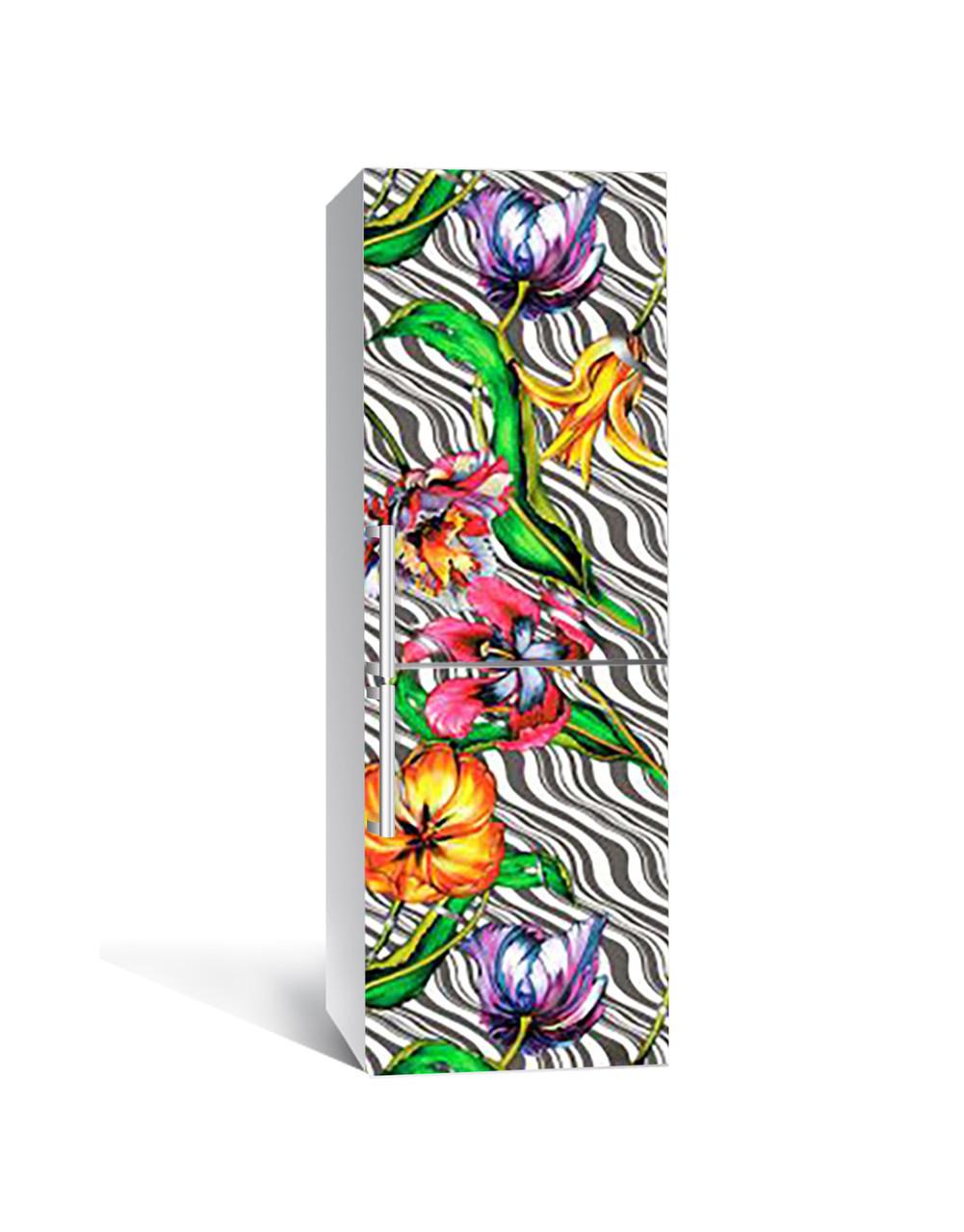 Виниловая 3Д наклейка на холодильник Ярки Цветы Зебра (самоклеющаяся пленка ПВХ) тюльпаны орнамент Зеленый 650*2000 мм