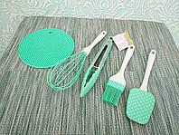Набір силіконових приладів для кухні (лопатка, віночок, кисть, підставка під гаряче, щипці) |Кухонний посуд|