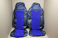 Чехлы на сиденья Man TGX экокожа черные + синяя велюровая вставка
