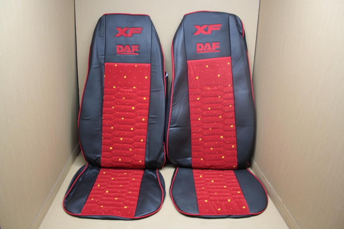 Чехлы на сиденья Daf XF 105 экокожа черные + красная велюровая вставка