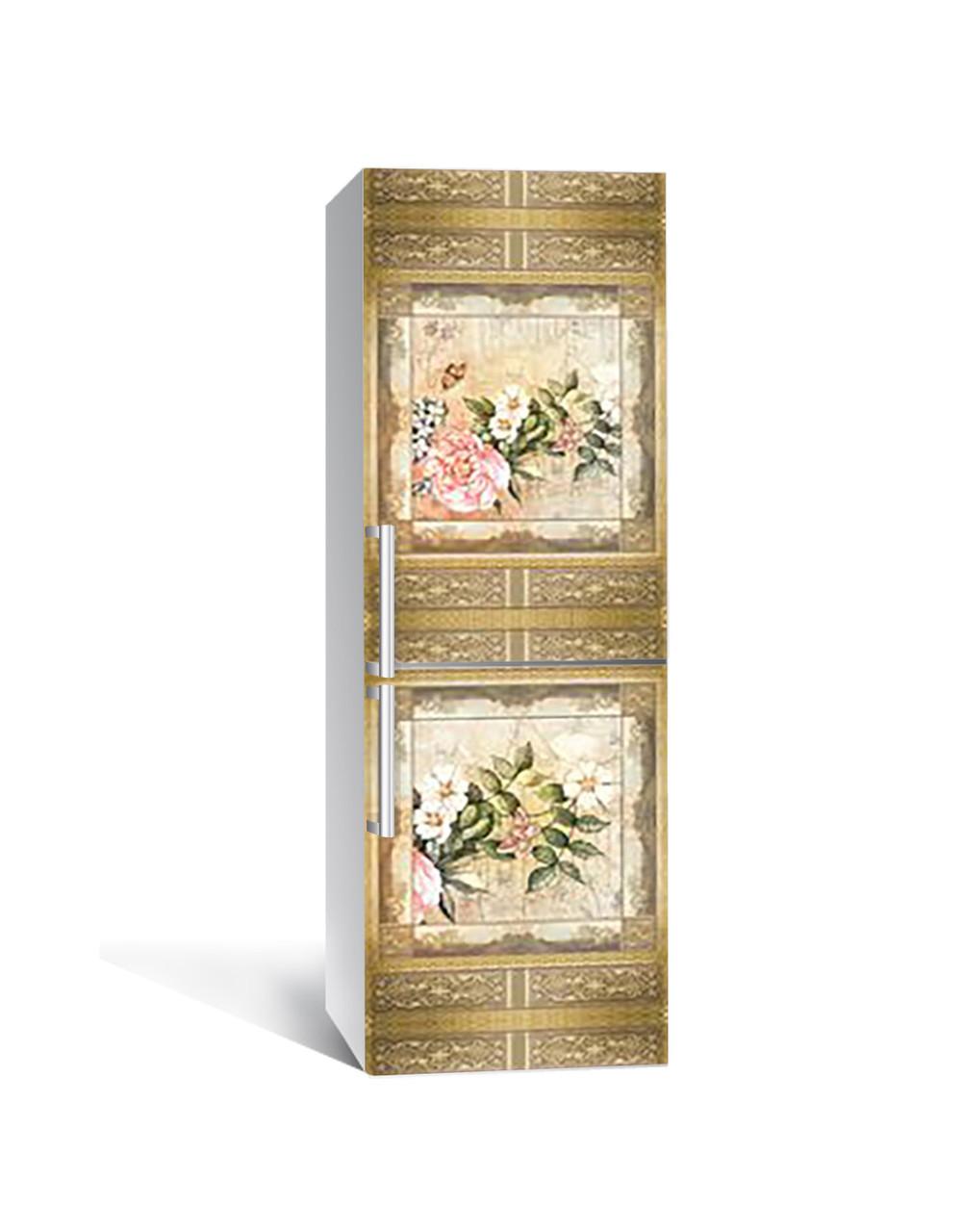 Виниловая 3Д наклейка на холодильник Винтажный Узор Птицы (самоклеющаяся пленка ПВХ) цветы Бежевый 650*2000 мм
