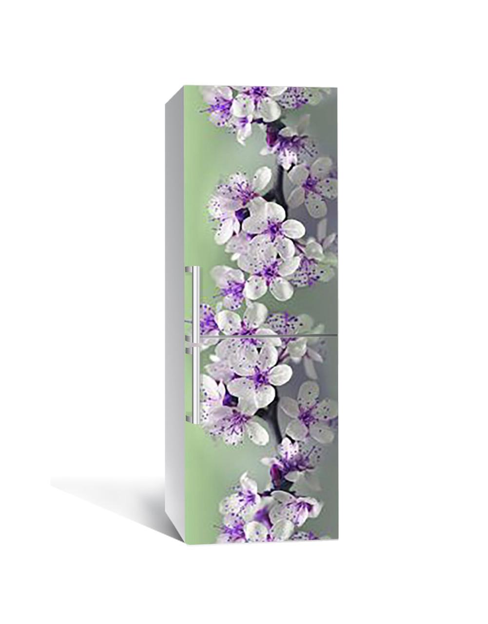 Виниловая 3Д наклейка на холодильник Весеннее цветение (самоклеющаяся пленка ПВХ) Цветы вишни Фиолетовый 650*2000 мм