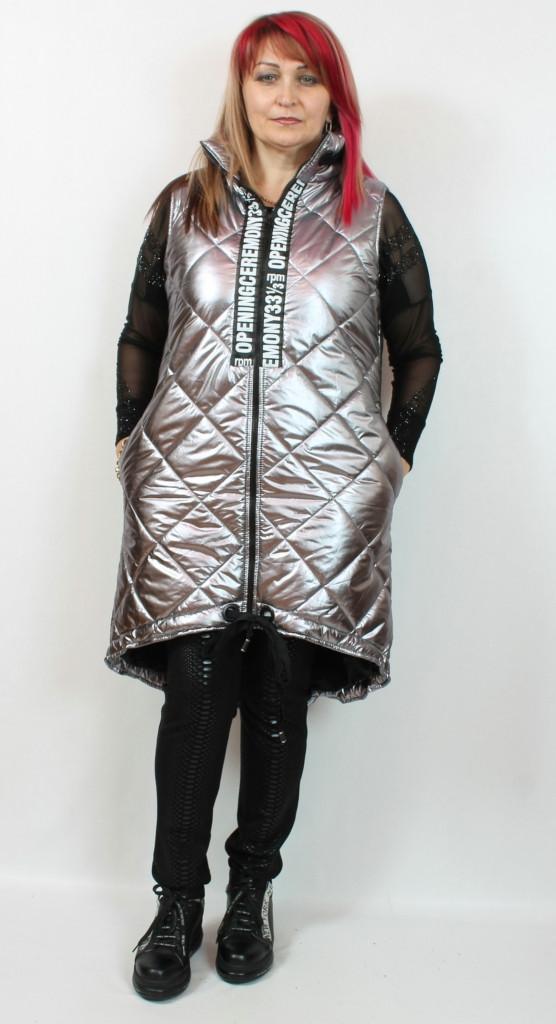 Турецкая женская длинная серебряная жилетка, размеры 48-54