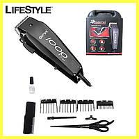 Машинка для стрижки волос Gemei GM-1016 (8 насадок) / Машинка для стрижки сетевая с ножницами