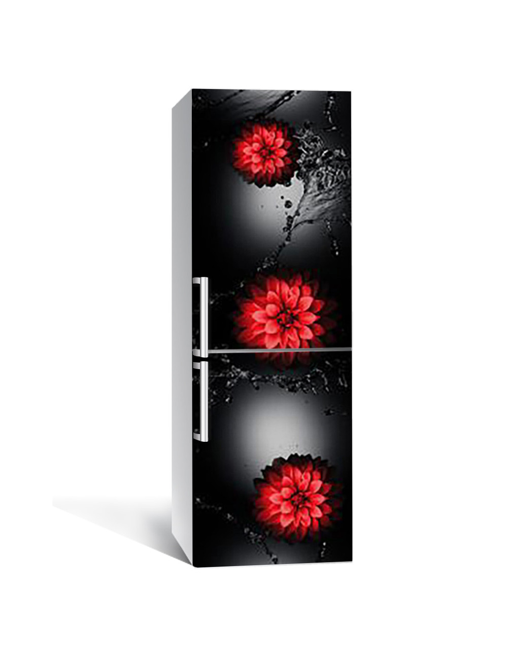 Виниловая 3Д наклейка на холодильник Красные цветы Вода (самоклеющаяся пленка ПВХ) брызги на черном фоне 650*2000 мм