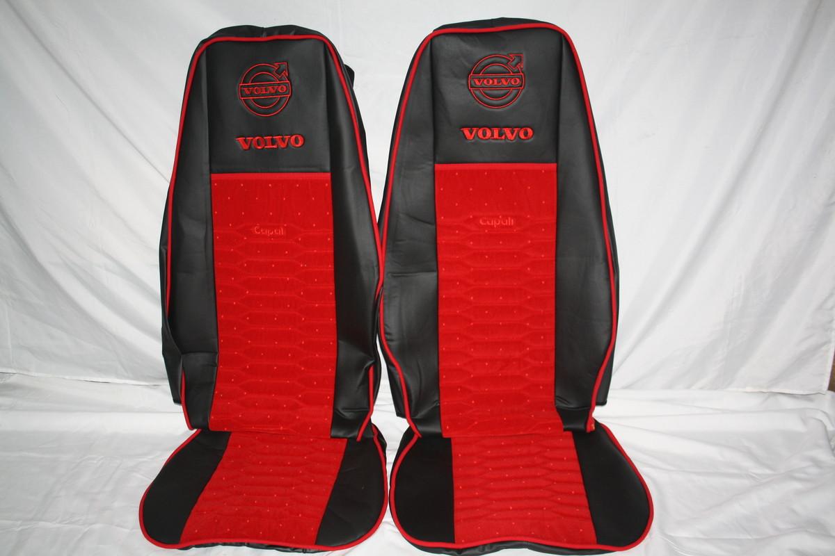 Чехлы на сиденья Volvo екокожа + красная велюровая вставка