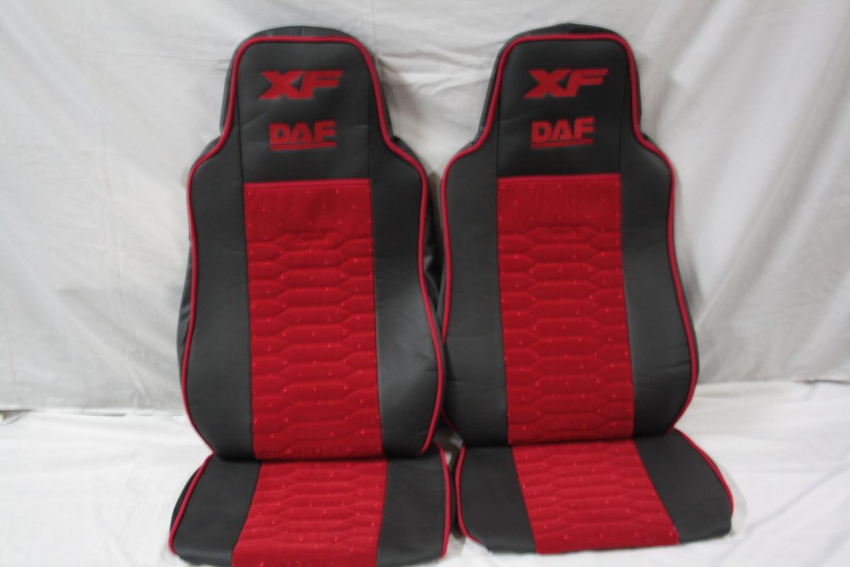 Чехлы на сиденья Daf XF 95 (03-07) екокожа + красная велюровая вставка