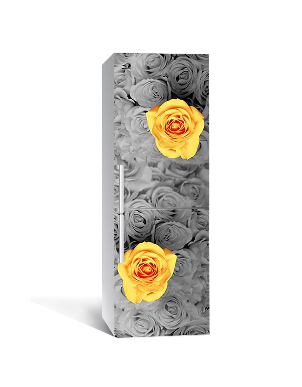 Виниловая 3Д наклейка на холодильник Бутоны Желтые Розы (самоклеющаяся пленка ПВХ) Цветы Серый 650*2000 мм
