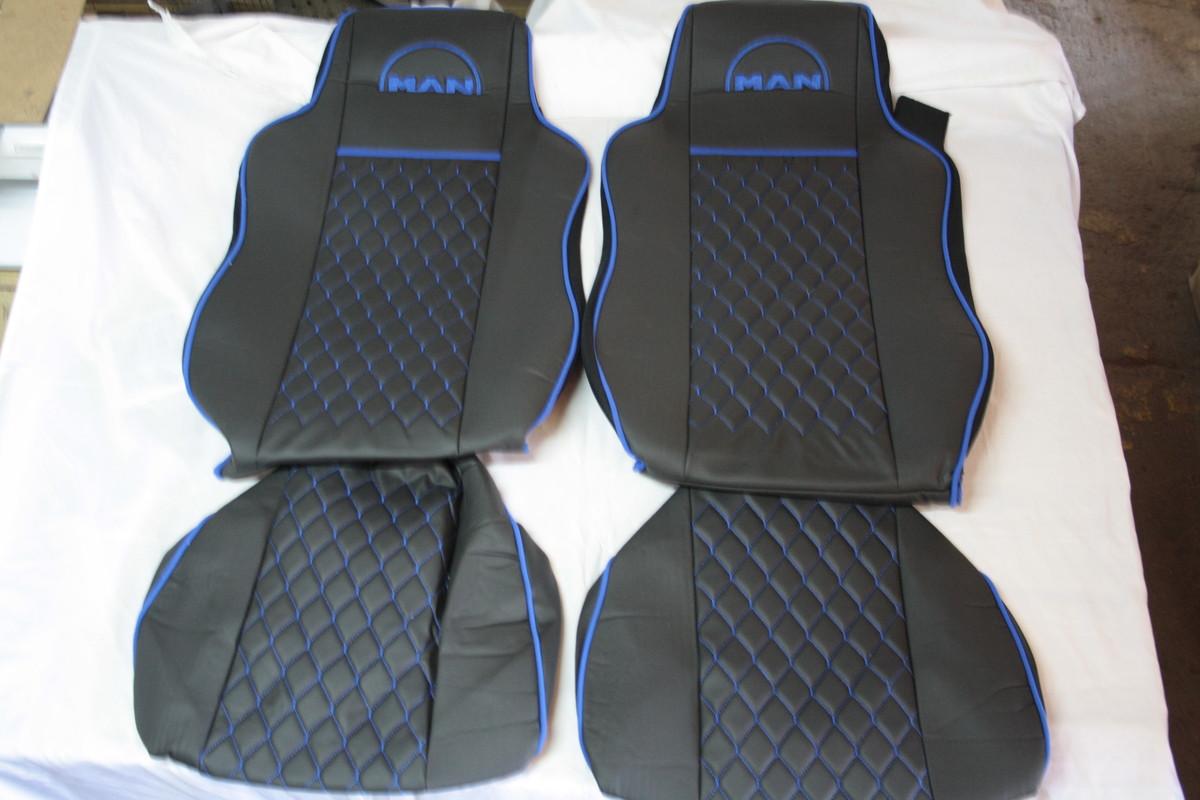 Чехлы на сиденья Man чорные с екокожы