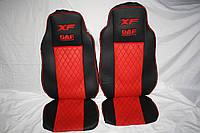 Чехлы на сиденья Daf красные  с екокожы