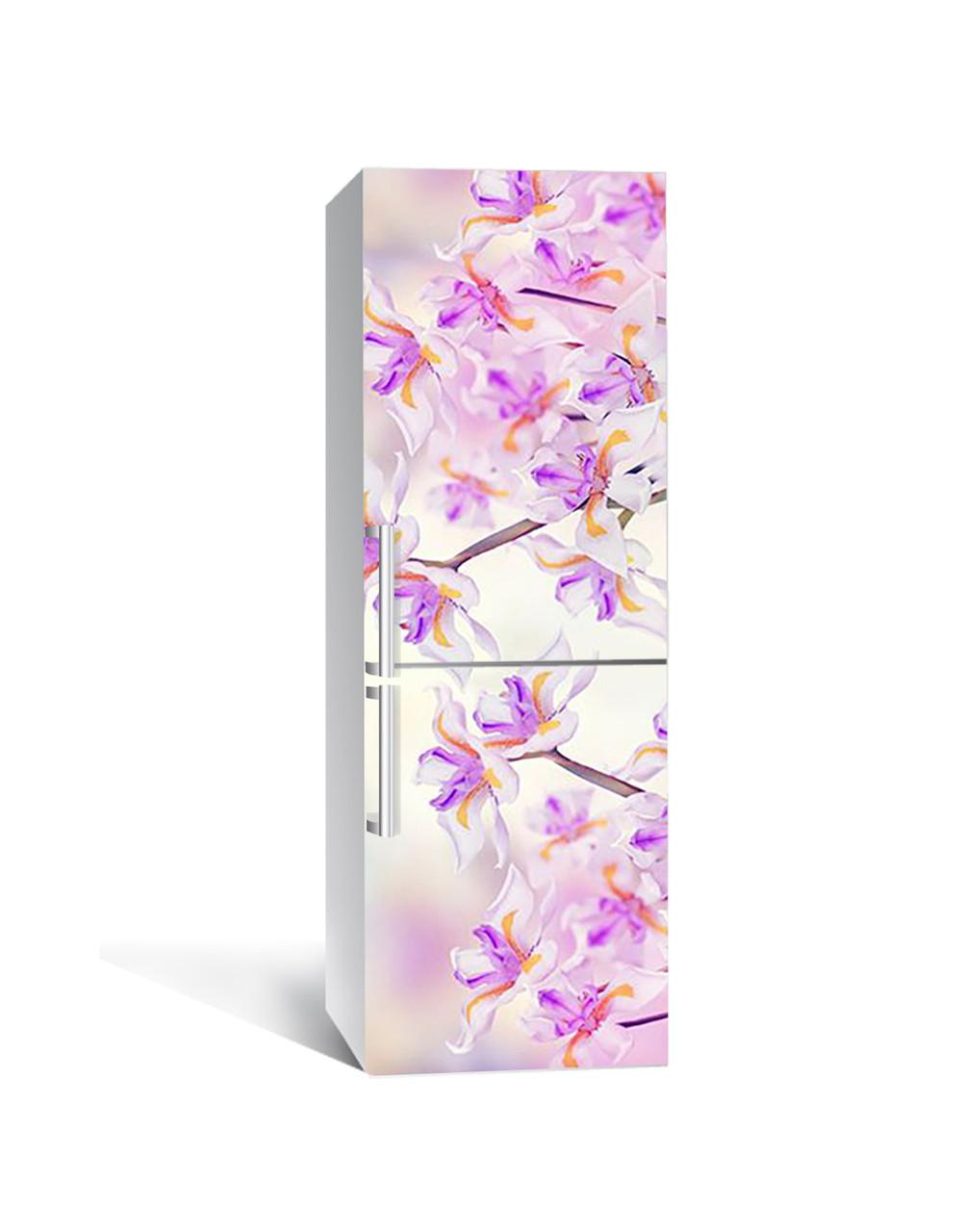 Виниловая 3Д наклейка на холодильник Дикие Ирисы (самоклеющаяся пленка ПВХ) необычные Цветы Фиолетовый 650*2000 мм