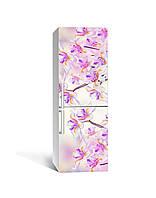 Виниловая 3Д наклейка на холодильник Дикие Ирисы (самоклеющаяся пленка ПВХ) необычные Цветы Фиолетовый 650*2000 мм, фото 1
