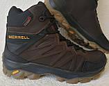 Тёплые ! Ботинки зимние мужские merrell кожаные коричневые, фото 2