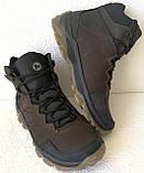 Тёплые ! Ботинки зимние мужские merrell кожаные коричневые, фото 7