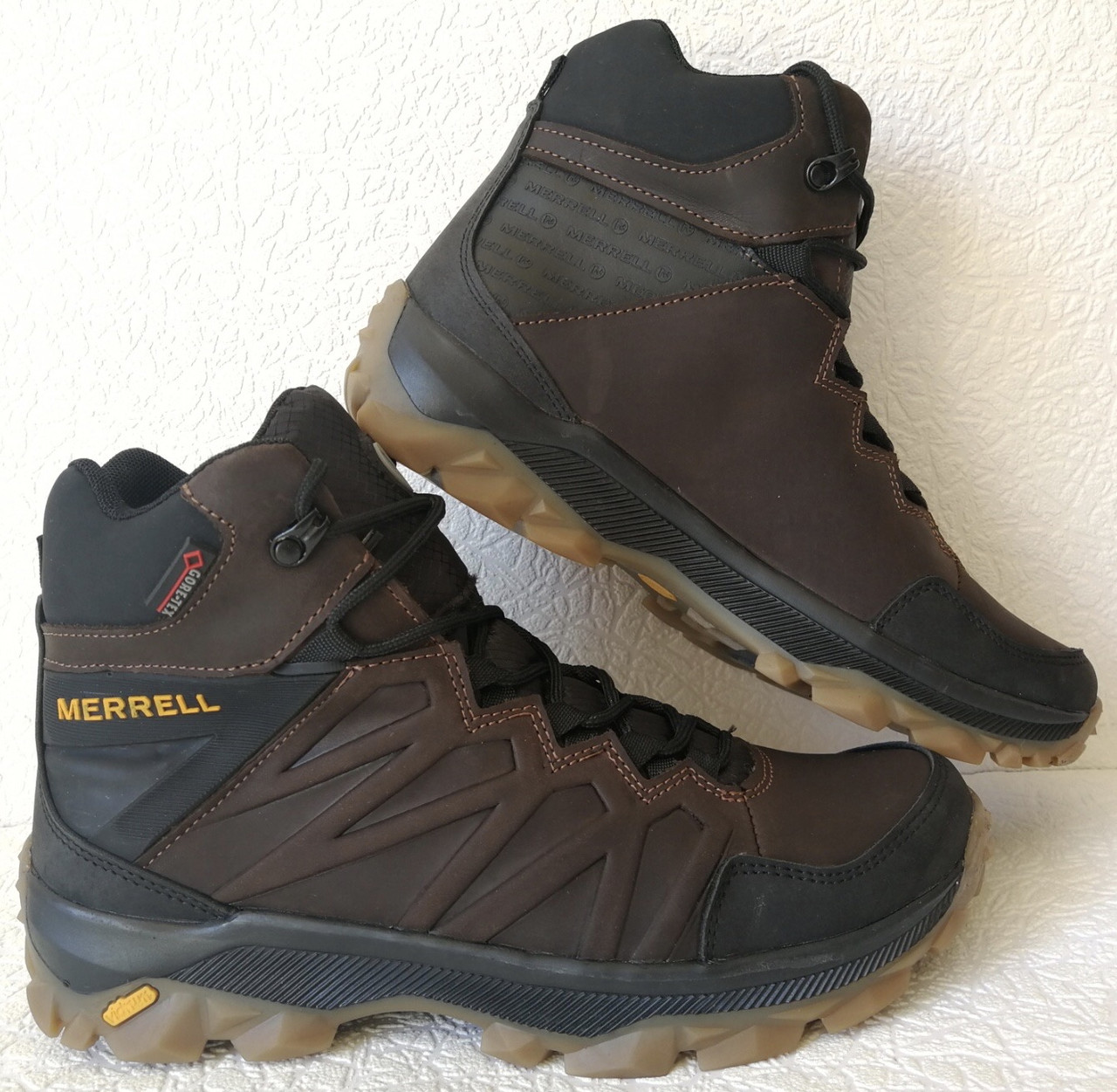 Тёплые ! Ботинки зимние мужские merrell кожаные коричневые