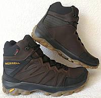 Тёплые ! Ботинки зимние мужские merrell кожаные коричневые, фото 1
