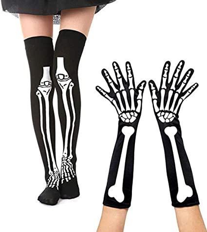 Чулки черные скелет  70х12 см + перчатки