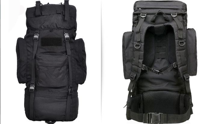 Тактический рюкзак 65 литров каркасный Черный