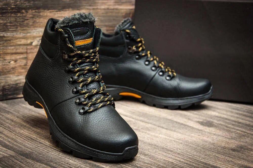 Мужские  зимние кожаные ботинки  Е-series Tracking Black Night (реплика)
